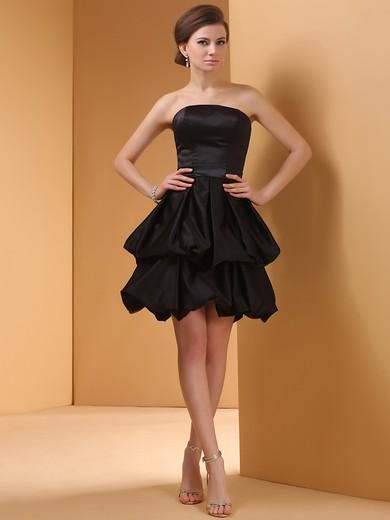Discount Black Elastic Woven Satin Strapless Pick-Ups Shot Mini Prom Dress #JCD02020064