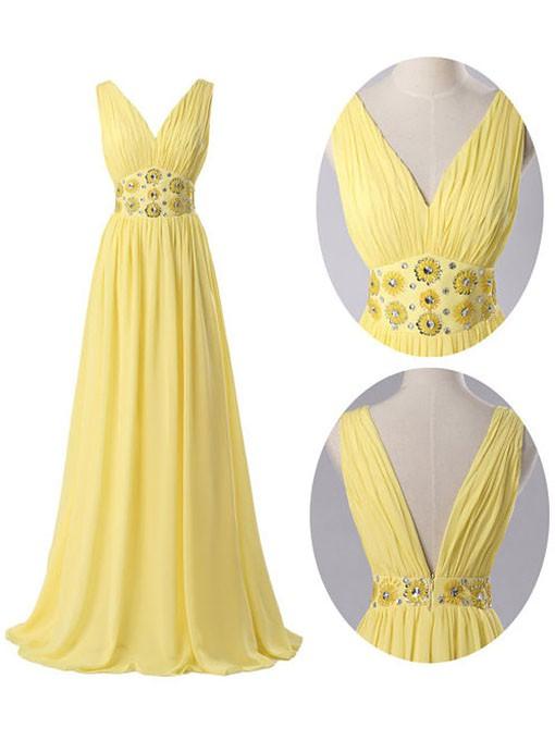 Chiffon A-line V-neck Floor-length Beading Prom Dresses #JCD02018912